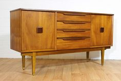 Mid Century Danish Inspired Teak Credenza/ Buffet/ TV Console in the Kofod Style.  Retro. Vintage. MCM. British. Mad Men on Etsy, $1,395.00
