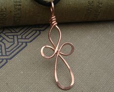 Long Loopy Celtic Copper Cross Pendant - Celtic Cross Necklace - Confirmation Gift, First Communion
