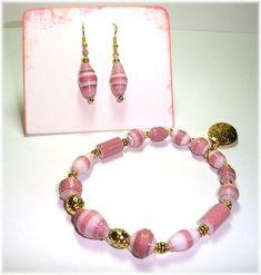 Pink Paper Bead Stretch Bracelet (size 7.75) and Pierced Earrings Set by itsmolly on Etsy https://www.etsy.com/listing/19241766/pink-paper-bead-stretch-bracelet-size