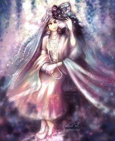 Sri Radha Krishna divine Wall Art Print