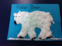 Polar Bears for winter theme. Cut out polar bear template. Glue on construction Paper. Pull cotton balls apart and glue. Put on wadded up black tissue paper for nose and paws. Add little eyes! They are so cute. I had my Pre-K class do this along with facts about Polar Bears. They loved it!