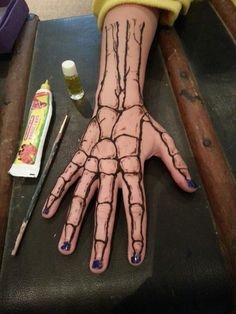My first Henna tattoo After doing a patch/skin test I painted this.. My daughter wanted a skeleton hand for the summer hols