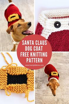 Free Dog Sweater Knitting Pattern For Christmas. Make A Knitted Santa Claus Dog … - savtod. Knitted Dog Sweater Pattern, Dog Coat Pattern, Knit Dog Sweater, Sweater Knitting Patterns, Free Knitting, Knitting Ideas, Knitting Projects, Crotchet Patterns, Loom Knitting
