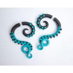 Blue black octopus Turquoise octopus Fake gauges Fake ear plug... ($26) ❤ liked on Polyvore featuring jewelry, earrings, summer earrings, blue earrings, octopus earrings, imitation jewellery and octopus jewelry