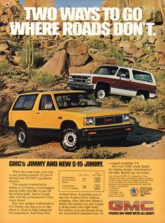 1983 GMC Jimmy & S-15 Jimmy 4WD USA Original Magazine Adve… | Flickr Gmc Trucks 2015, Gm Trucks, Chevrolet Trucks, Lifted Trucks, Gmc Suv, Chevy 4x4, Gmc Motorhome, Chevrolet Blazer, Jeep 4x4
