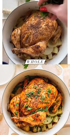 Dutch Oven Whole Chicken, Oven Roasted Whole Chicken, Cooking Whole Chicken, Roast Chicken Recipes, Roasting Chicken In Oven, Whole Chicken Recipes Oven, Dutch Oven Cooking, Dutch Oven Meals, Roast In Dutch Oven