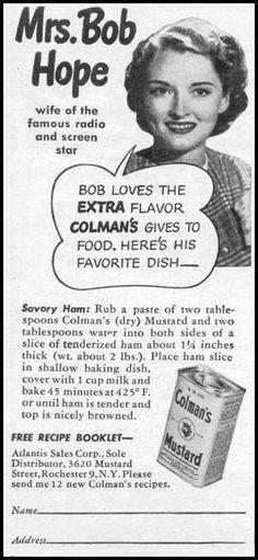 Mrs. Bob Hope in Colman's mustard ad #mustard