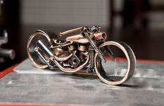 Copper and Steel Panhead Bobber Motorcycle Sculpture. Etsy.