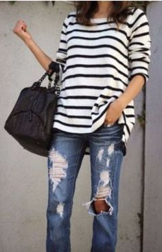 summer outfits  Striped Top + Ripped Jeans