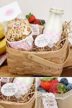 Ideas For Breakfast Party Theme Favor Bags Breakfast Basket, Breakfast On The Go, Eat Breakfast, Christmas Morning Breakfast, Mothers Day Breakfast, Homemade French Toast, Theme Baskets, Diy Wedding Favors, Wedding Souvenir
