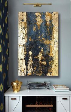 Large Abstract Painting Gold Leaf Art Wall Decor Modern Art Original Painting Golden textured Abstract Painting Canvas by Maria Buduchikh. This abstract is in a single copy. Repeat is impossible. Gold Leaf Art, Gold Wall Art, Gold Wall Paints, Modern Wall Decor, Wall Art Decor, Gold Walls, Gold Painted Walls, Painted Leaves, Texture Painting