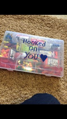 Great gift for boyfriend who loves to fish! Hooked on you tackle box filled with candy and fishing supplies.