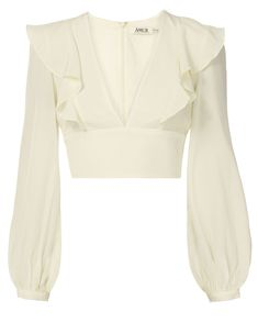 Sabrina Blouson Sleeve Crop Top, WHITE, hi-res blusa branca babados cropped Classy Outfits, Cute Outfits, Vetements Clothing, Fancy Blouse Designs, Clothing Hacks, Looks Style, Corsage, Aesthetic Clothes, Blouses For Women