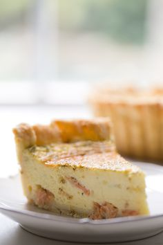 Smoked Salmon, Dill, and Goat Cheese Quiche ~ Quiche with all-butter pie crust, filled with custard baked with smoked salmon, fresh dill, shallots, and goat cheese. ~ SimplyRecipes.com