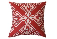 Medallion 20x20 Outdoor Pillow, Red on OneKingsLane.com