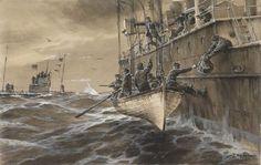 Willy Stöwer - Deutsches U-Boot begegnet britischer U-Boot Falle Headley (1917)