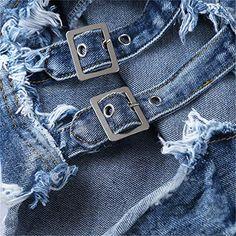 UUYUK-Women Stretchy Ripped Frayed Casual Jean Pant Denim Shorts