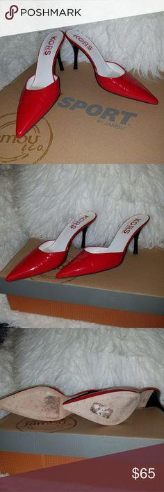"""Michael Kors Red Slides Heels 7 Slides, slide-ons, pointed toe heels 4"""" Michael Kors Shoes Heels"""