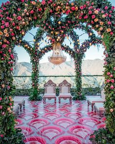 indian wedding Modern Outdoor Mandap Decorated with Roses, Filament Lights amp; Crystal Chandelier With silver and white colour wedding mandap chairs wedding mandap Wedding Set Up, Desi Wedding, Perfect Wedding, Wedding Ideas, Wedding Pictures, Elegant Wedding, Boho Wedding, Wedding Table, Mandap Design