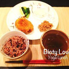 ヨガランチセットです☆ - 6件のもぐもぐ - 粟入り南瓜コロッケ、切り干し大根の煮物、小豆玄米 by YukkiSatake