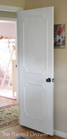 creating paneled doors for pennies, diy, doors, painting, woodworking projects--another pinner wrote: We did this to our hollow core door years ago and then painted the inner panel a slightly different color -- it gave it depth. Also years ago in our bedroom we did the same thing on our closet doors only added the beautiful wallpaper we had in the bedroom to the center part of the door.