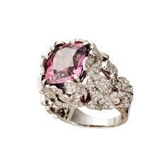 AENEA Jewellery - Ring Pink Spinel - Pink Spinel white diamonds handcrafted in Palladium Leather Box, Pink Ring, Jewelry Rings, Jewellery, Diamond Gemstone, Engagement Rings, Jewels, Gemstones, Schmuck