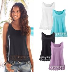 Fashion Summer Women Lace Vest Top Sleeveless Casual Tank Blouse Tops T-Shirt #Unbranded #Sexy #Casual $4.97 w/ free s/h