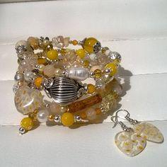 Boho Beaded Bracelet yellow white and silver by STRICTLYBOHOltd on Etsy