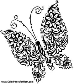 line art drawings of butterflies black white line