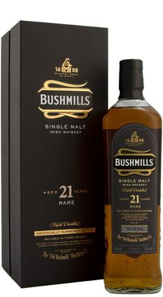 Bushmills 21 Year Old Rare Single Malt has been matured in three woods, Oloroso sherry and Bourbon casks for a minimum of 19 years and then 2 years in Madeira Casks. Whisky Bar, Cigars And Whiskey, Scotch Whiskey, Bourbon Whiskey, Whiskey Girl, Bourbon Drinks, Irish Whiskey Brands, Single Malt Irish Whiskey, Irish Alcohol