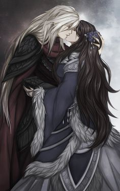 Many readers believe that Jon is not the son of Eddard Stark. Instead, he is the son of Prince Rhaegar Targaryen and Eddard's sister Lyanna. Rhaegar and Lyanna disappeared together to the Tower of Joy early in Robert's Rebellion. Rhaegar Y Lyanna, Manga Couples, Jon Snow, Arte Game Of Thrones, Game Of Trone, Fantasy Couples, Yennefer Of Vengerberg, Elfa, Fire And Ice