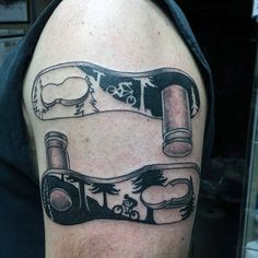 Dichormatic Pattern With Bicycle Tattoo On Arms For Men