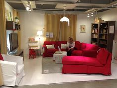 LIVING ROOM WITH A RED IKEA SOFA IDEARS - Google Search