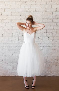 Tulle Sweetheart Strapless Tea Length Cotton by CleoandClementine