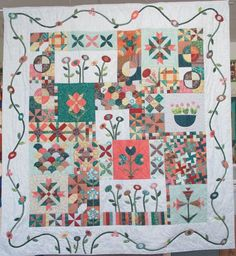 Simple applique border and interesting blocks: Green Tea and Sweet Beans by Jen Kingwell