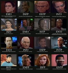 Myers-Briggs Star Trek Edition by ~loqutor on deviantART -- I am totally ok with being Picard.