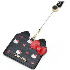 Sanrio Japan Hello Kitty Leather Transportation ID Card Case Black Wallet