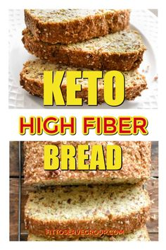 Stop craving whole wheat bread while doing keto. Because this recipe for keto high fiber bread is the solution you've been needing. It's not only a low carb bread but it's high in fiber keeping you full longer and hunger at bay. Ketogenic Recipes, Diabetic Recipes, Low Carb Recipes, Bread Recipes, Diet Recipes, Tortilla Recipes, Recipies, High Fiber Bread Recipe, High Fiber Breakfast