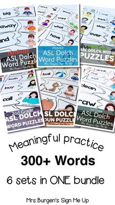 American Sign Language puzzles accessible for your deaf and hard of hearing students. Features PrePrimer, Primer, First Grade, Second Grade, Third Grade and Nouns. FINALLY! Meaningful independent centers for your K-2 classroom