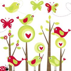 Modern Forest Clip Art  Birds and Butterflies Clip Art commercial and personal use