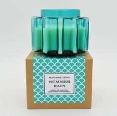 #madameluna #lunac #scentedcandles #designerglass #summerrain #candles #gift Essential Oil Blends, Essential Oils, Summer Rain, Paraffin Wax, Candle Making, Fragrance, Candles, Gifts, Presents