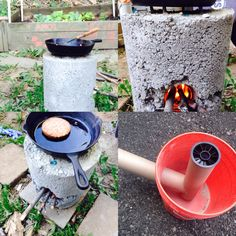 Rocket Stove: 5 gallon bucket, 1 bag of cement, old paper tubes or pic, and 4 screws for top. #diy