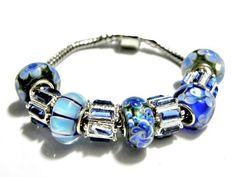 european bead Bracelet Blue lampwork charms PB819