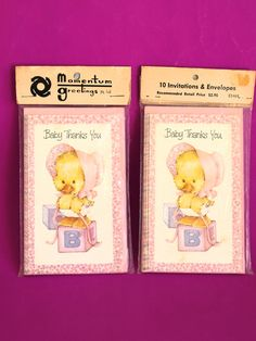 Baby Thanks You Cards by Lee - Vintage 70s Kitsch Expecting Cards  - 20 Cards Matching Envelopes Cute Boy & Girl - Crafting Supplies by FunkyKoala on Etsy