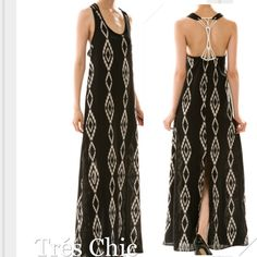 🌺HP 7/31🌺AZTEC SLIT BACK MAXI w/EMBELLISHED BACK This is a gorgeous maxi! With the unusual back embellishment to the sheer bottom and AZTEC print, this is an all around beauty! 100% polyester, made in USA🇺🇸 Dresses