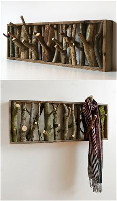 DIY Wood Branch Coatrack. LOL - Things to sell when there's no economy :)