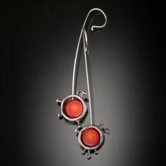 Rosehip Mood Drop Earrings -  Artisan Jewelry - Oxidized Sterling Silver, Red Coral by Aleksandra Vali