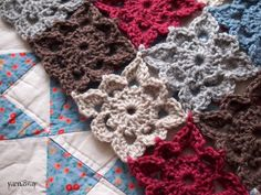 I LOVE the crochet it together as you go projects!   Why?  Because I HATE sitting down and stitching them together!
