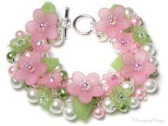 Springtime Love Pastel Pink & Green Floral Charm Bracelet