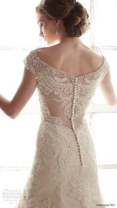 christina wu wedding dresses 2015 beaded cap sleeves v neckline elegant embroidered mermaid wedding dress 15582.back view